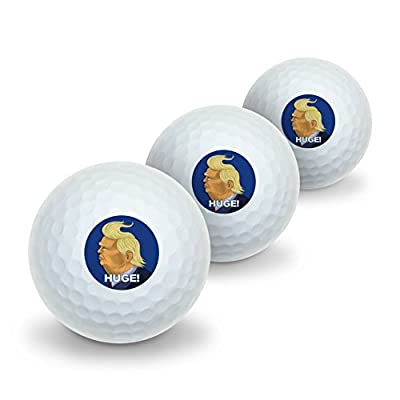 Huge! Donald Trump Caricature with Wind Blowing Hair Funny Novelty Golf Balls 3 Pack