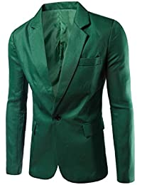 YYG-Men Casual Business Solid One Button Slim Dress Blazer Jacket