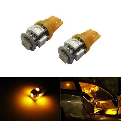 iJDMTOY 5-SMD 168 194 2825 T10 LED Car Interior Map Dome Light Bulbs, Amber Yellow