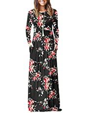 AUSELILY Women Long Sleeve Loose Plain Plus Size Maxi Dresses Casual Long Dresses with Pockets(S,Rose Black)