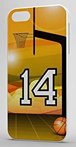 Basketball Sports Fan Player Number 14 White Plastic Decorative iphone 6 plus Case