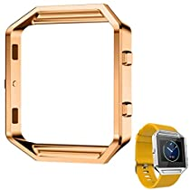 For Fitbit Blaze, Lucoo® Stainless Steel Replacement Loop Metal Frame Case for Fitbit Blaze Smart Watch (Gold 2)