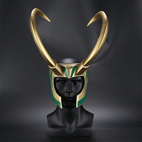 Zheng 2018 Loki Cosplay Mask Removable Golden Horns Helmet