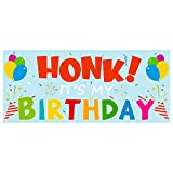 TICIAGA HONK IT'S My Birthday Banner, Birthday Party Banner for Kids, Yard Sign with 4 Metal Grommets, 63'' X 27'' Satin Indoor Room Backdrop, Outdoor Lawn Sign Flag, Quarantine Bday Decor for Adults