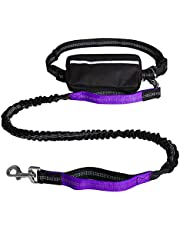 Dog Leash, Pedkit Hands-Free Waist Dog Leash with Removable Zipper Pouch Reflective Strap Double Bungee Double Handles Night Running