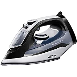 AICOK Steam Iron, 1400W Non-Stick Stainless Steel Soleplate Iron, Variable Temperature and Steam Control, Anti-Drip, Rapid Heating, Black