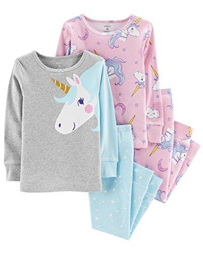 Carter's Girl's 4-Piece Snug Fit Cotton PJ Set, Unicorn, 2T by Carter's (Image #1)