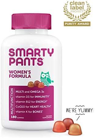 SmartyPants Women's Formula Daily Gummy Vitamins: Gluten Free, Multivitamin & Omega 3 Fish Oil (DHA/EPA), Methyl B12, Vitamin D3, Vitamin B6, 180 Count (30 Day Supply) - Packaging May Vary