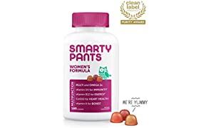SmartyPants Women's Gummy Multivitamin: Biotin for Healthy Hair, Skin and Nails, Vitamin C, D3, E, B12, A, Omega 3 (DHA/EPA) Fish Oil, CoQ10, Gluten Free, 180 count (30 Day Supply) Packaging May Vary