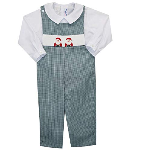 - Silly Goose Santa Hand Smocked Boys Overall and Long Sleeve Shirt