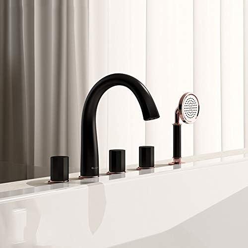温水と冷水を備えた浴槽の蛇口5つの穴3円形ハンドル真鍮の浴室の浴槽の蛇口デッキマウントバスシャワーミキサータップハンドヘルドシャワー付き,クロム
