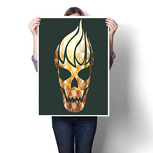 1-Piece 100% Paintings,Skull with Fractal Effects in Fire Evil Halloween Concept Yellow Light Caramel Dark Painting,Modern Abstract Painting Canvas Living Room,20