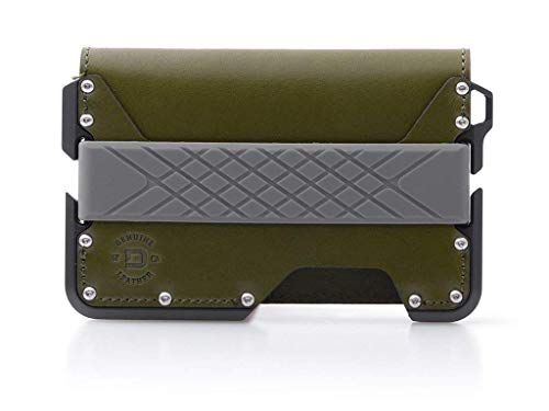 Dango D01 Dapper Bifold Wallet - Made in USA - Genuine Leather, CNC Alum, RFID Blocking (Moss Green/Slate Grey)