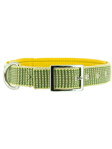 "Kakadu Pet Sea Grass Padded Big Dog Collar, 1 1/4"" x 28"", Green"