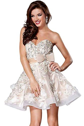 - Jovani - Strapless Floral Appliqued Beaded Cocktail Dress 2933 Ivory/Nude