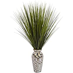 Laura Ashley VHA102448 Tall Onion Grass in Mother of Pearl Mosaic Vase (14x14x32 H) Tree