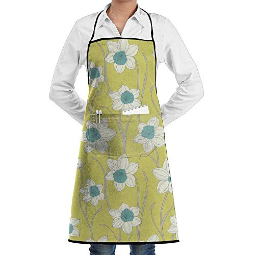 Lovely Daffodil - ssribeautyk Lovely Daffodil Fashion Waterproof Durable Apron with Pockets for Women Men Chef