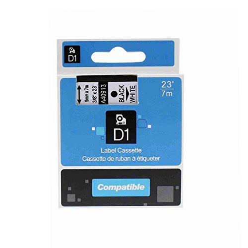 Kompatible P-touch als Ersatz für DYMO D1 40913 9mm 7m Etikettenband(Schwarz auf Weiß,1er-Pack)