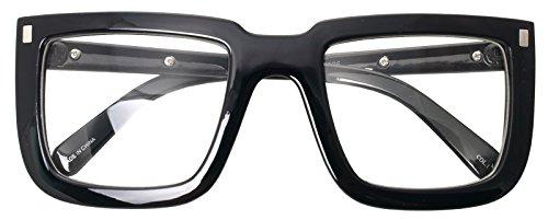 Big Square Horn Rim Eyeglasses Nerd Spectacles Clear Lens Classic Geek Glasses (BLACK 2016, Clear)