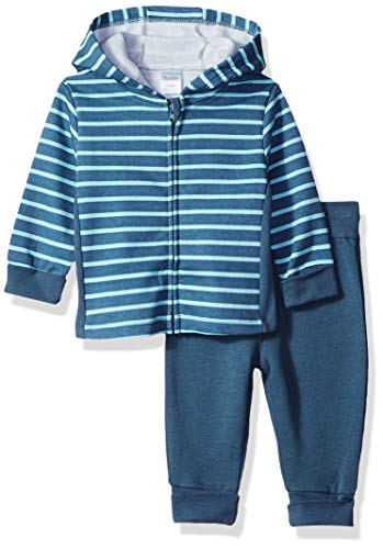 (Hanes Ultimate Baby Flexy Adjustable Fit Jogger with Zippin Fleece Hoodie, Dark Blue Stripe, 6-12 Months)