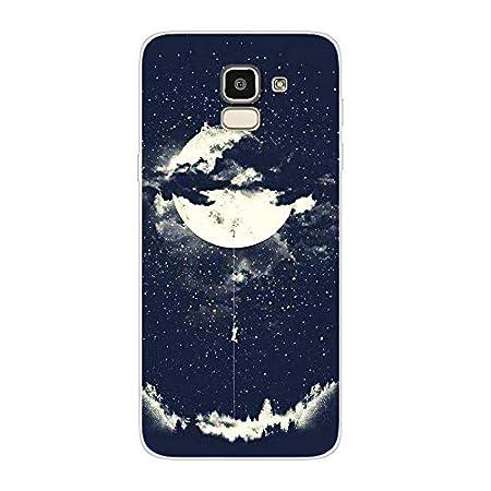 Transparent Gel Silicone TPU Souple Bumper Case Cover de Protection Premium Clear Surface Housse Etui Motif imprim/é T/ête de Loup f/éroce Aksuo Coque for Samsung Galaxy J6 2018