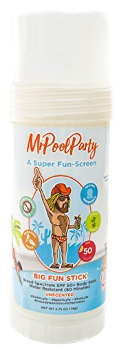 MrPoolParty Organic Mineral Sunscreen Stick, Fragrance Free Body Sunscreen, SPF 50, 2.75oz