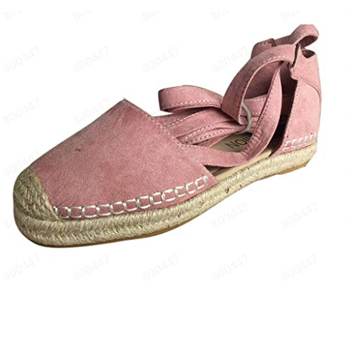 Silk Espadrille (Women's Summer Flat Shoes,LuluZanm Sale! Ladies Lace-Up Espadrilles Strap Shoes Chunky Holiday Low Flat Sandals Pink)