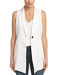Womens Lace-up Midi Vest, 4, White