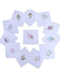 10 Pack Womens Floral Soft Cotton Handkerchiefs Ladies White Hankies
