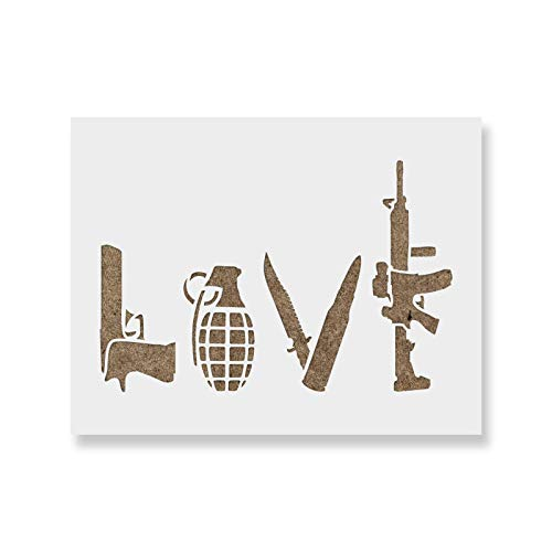 Love Guns Stencil Template - Reusable Stencils for Painting in Small & Large Sizes