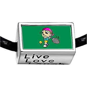 Chicforest Silver Plated Olympics tennis player forehand cartoon Photo Live Love Laugh Charm Beads Fits Pandora Charm Bracelet
