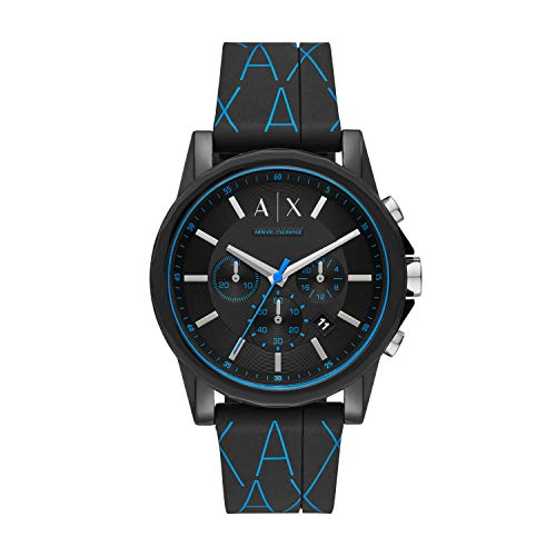 Armani Exchange Mens Chronograph Quartz Watch with Silicone Strap ()