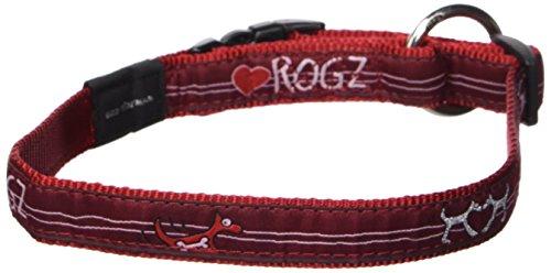 "Rogz Fancy Dress Large 3/4"" Beach Bum Side-Release Fashion Dog Collar, Red Heart Design"