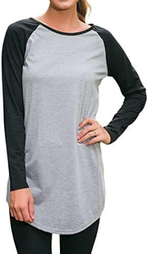 Halife Women's Round Neck Raglan Sleeve Long T-shirt Tunics Tops