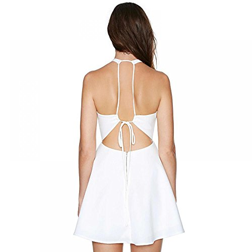 Enlishop Neck Fit Sleeveless White1 Halter and Prom Summer Junior Dress Pleated Women Flare IpwqYrIg