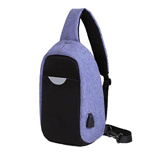 Moda De Agua Deportes Concisas A Prueba De Tórax Duradera Bolsas De Cuero Mochila Multicolor Purple
