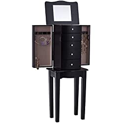 Giantex Standing Jewelry Armoire with Mirror Wood Box Storage Chest Cabinet Organizer