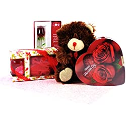 Valentine's Day Box of Chocolate, Spa Treatment, Glass Rose Keepsake and Teddy Bear Gift
