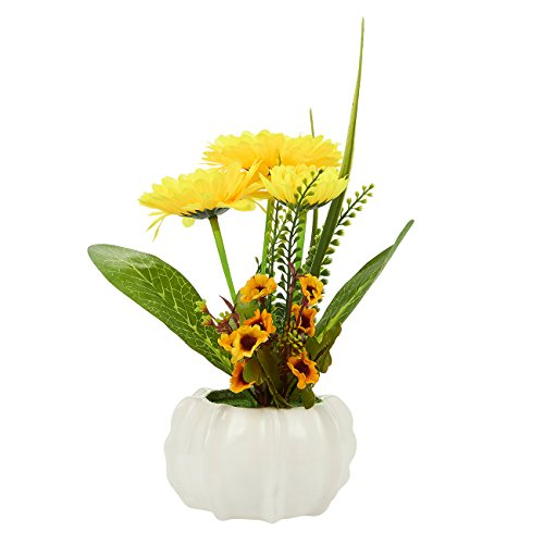 Artificial Sunflower Flower - Fake Sunflower with Ceramic Pot for Wedding Decorations, Party Decorations, Kitchen Decorations - 9.5 x 4.75 (Fake Sunflowers In Bulk)