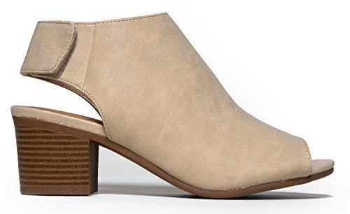f6f5e02cb8a J. Adams Harper Ankle Bootie - Adjustable Band Peep Toe Low Stacked Heel  Boots