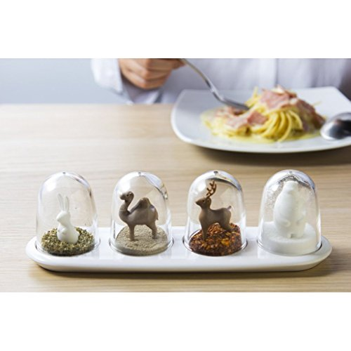 Teanfa 4pcs Creative Plastic Kitchen Salt Pepper Condiment Seasoning Shaker Cruet Spice Jar Bottle Box Set (Animal Parade) by Teanfa