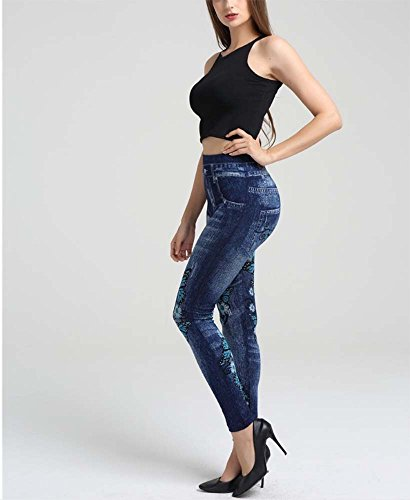 Extensible Pantalon lastique Denim imprim Femmes Skinny Imitation 1 Jeggings Huateng Leggings Pantalons CawAqn