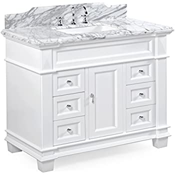 this item elizabeth 42inch bathroom vanity includes white cabinet with soft close drawers u0026 self closing doors authentic italian carrara