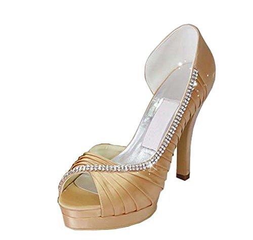 Kevin Fashion , Chaussures de mariage tendance femme - Marron - Sandals-Champagne, 43