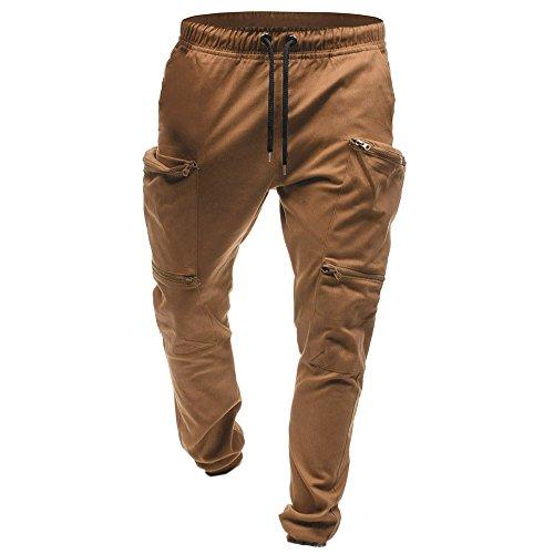 Classique poches Chic Cargo Trousers Marron Joggeurs Zippées Cordon Slim nbsp; Sport Travail Pantalon Jean Cebbay Homme OcZqH0HX