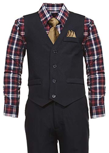 Vittorino Boys 4 Piece Holiday Suit Set with Vest Shirt Tie Pants and Hankerchief, Navy/Plaid Tan, 2T