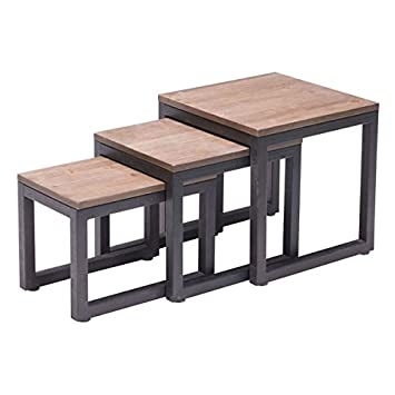 Zuo Modern Civic Center Nesting Tables, Distressed Natural