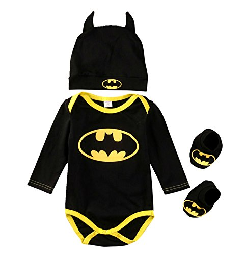 Batman Baby Onesie, 3 Piece Outfits Set (0-3 Months, Long Sleeve) (Batman Outfit Baby)