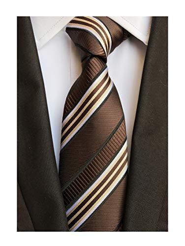 Men's Coffee Brown White Tie Silk Luxury Unique Designer Cool Self Dress Necktie