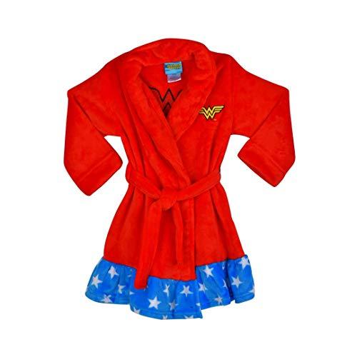 DC Comics Girls' Big Wonder Woman Velvet Fleece Robe, Red Small]()